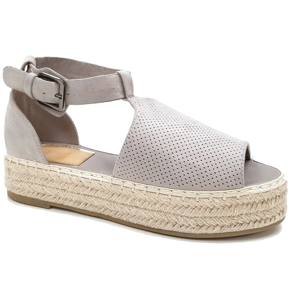 b12b1319021 Gray Peep Toe Flatform Espadrille Sandals NIB